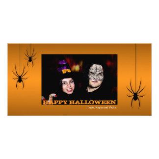 Hanging spiders black orange Halloween greeting Photo Greeting Card