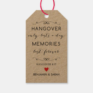Hangover Kit Tags / Wedding Favor Tags Pack Of Gift Tags
