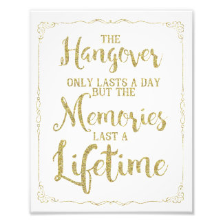 hangover party sign, wedding sign, gold glitter photo print
