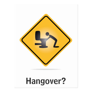 Hangover vertical text funny postcard