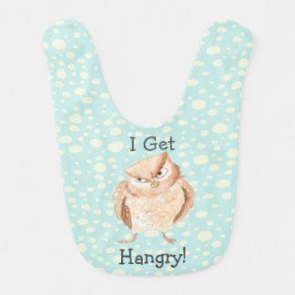 Hangry Owl Watercolor Baby Bibs