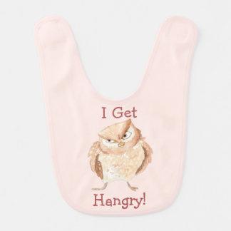 Hangry Owl Watercolor Bib