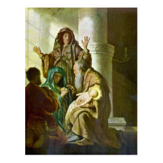 Hannah and Simeon in the temple by Rembrandt Postcard