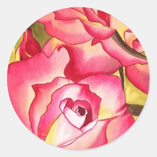 Hannah Gordon pink Rose watercolor art Round Sticker