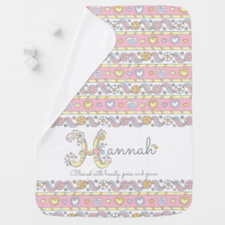 Hannah name with name meaning hearts baby blanket