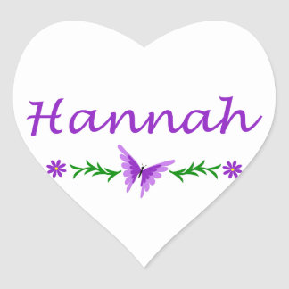 Hannah (Purple Butterfly) Heart Sticker