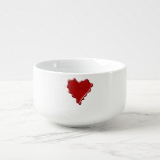 Hannah. Red heart wax seal with name Hannah Soup Mug