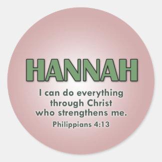 Hannah's name sticker