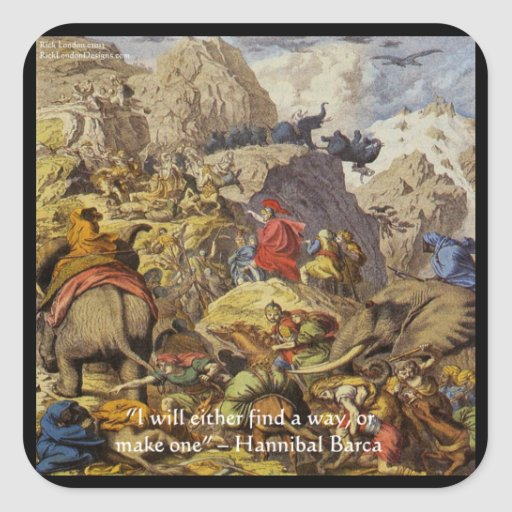 Hannibal Barca & Army & Quote Gifts & Cards Square Stickers