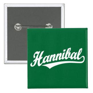 Hannibal script logo in white 2 inch square button
