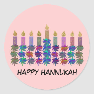 Hannukah Flower Menorah Classic Round Sticker