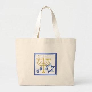 Hannukah Symbols Large Tote Bag