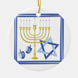 Hannukah Symbols Round Ceramic Ornament