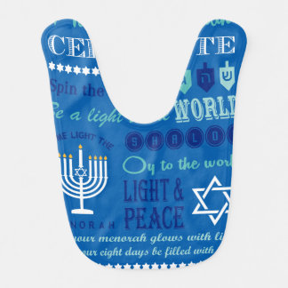 Hannukah typography collage art bibs