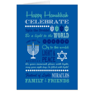 Hannukah typography collage art card