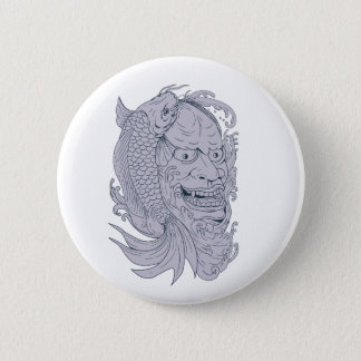 Hannya Mask and Koi Fish Drawing 2 Inch Round Button
