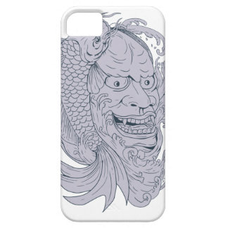 Hannya Mask and Koi Fish Drawing Case For The iPhone 5