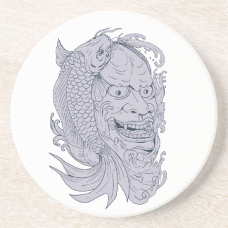 Hannya Mask and Koi Fish Drawing Coaster