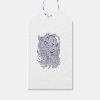 Hannya Mask and Koi Fish Drawing Gift Tags