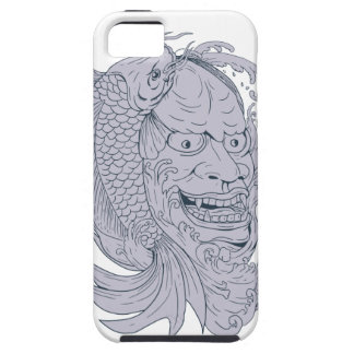 Hannya Mask and Koi Fish Drawing iPhone 5 Case