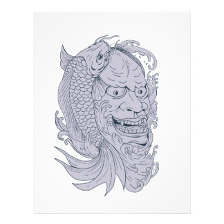 Hannya Mask and Koi Fish Drawing Letterhead
