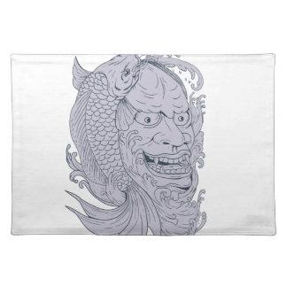 Hannya Mask and Koi Fish Drawing Placemat