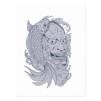 Hannya Mask and Koi Fish Drawing Postcard
