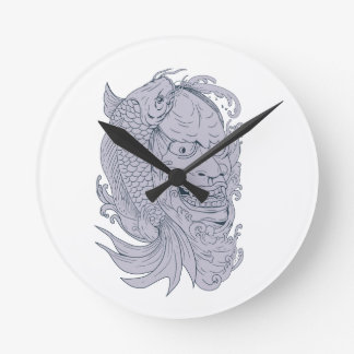 Hannya Mask and Koi Fish Drawing Round Clock
