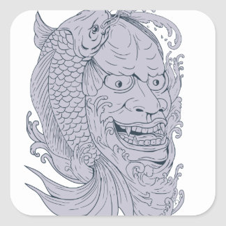Hannya Mask and Koi Fish Drawing Square Sticker