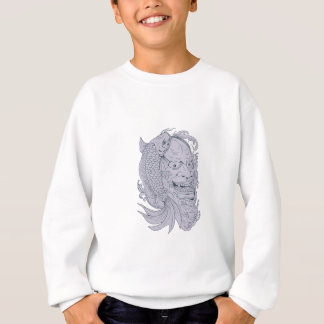 Hannya Mask and Koi Fish Drawing Sweatshirt