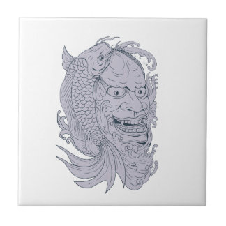 Hannya Mask and Koi Fish Drawing Tile