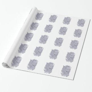 Hannya Mask and Koi Fish Drawing Wrapping Paper