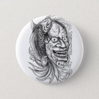 Hannya Mask Koi Fish Cascading Water Tattoo 2 Inch Round Button