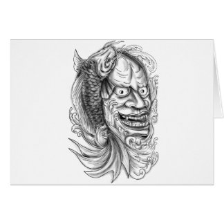 Hannya Mask Koi Fish Cascading Water Tattoo Card