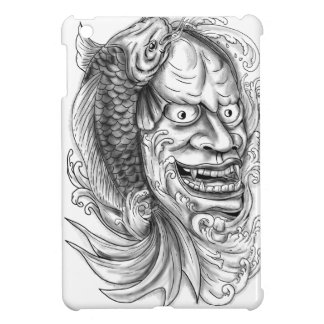 Hannya Mask Koi Fish Cascading Water Tattoo Case For The iPad Mini
