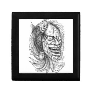 Hannya Mask Koi Fish Cascading Water Tattoo Gift Box