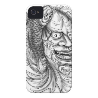 Hannya Mask Koi Fish Cascading Water Tattoo iPhone 4 Cover