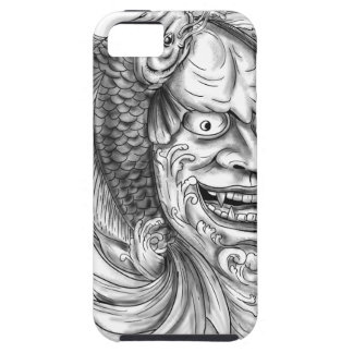 Hannya Mask Koi Fish Cascading Water Tattoo iPhone 5 Cover