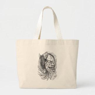 Hannya Mask Koi Fish Cascading Water Tattoo Large Tote Bag