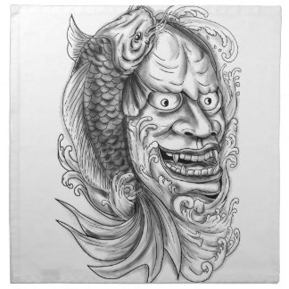 Hannya Mask Koi Fish Cascading Water Tattoo Napkin