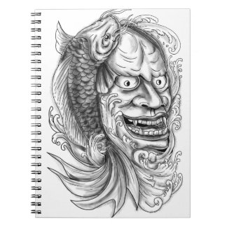 Hannya Mask Koi Fish Cascading Water Tattoo Notebooks