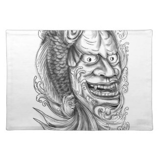 Hannya Mask Koi Fish Cascading Water Tattoo Placemat