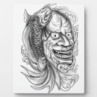 Hannya Mask Koi Fish Cascading Water Tattoo Plaque