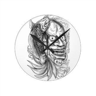 Hannya Mask Koi Fish Cascading Water Tattoo Round Clock