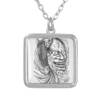 Hannya Mask Koi Fish Cascading Water Tattoo Silver Plated Necklace