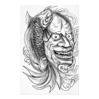 Hannya Mask Koi Fish Cascading Water Tattoo Stationery