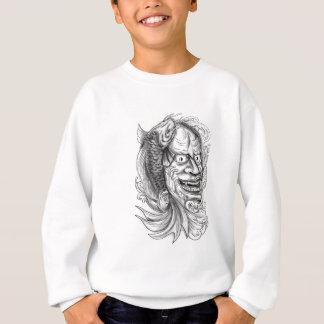 Hannya Mask Koi Fish Cascading Water Tattoo Sweatshirt