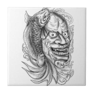 Hannya Mask Koi Fish Cascading Water Tattoo Tile