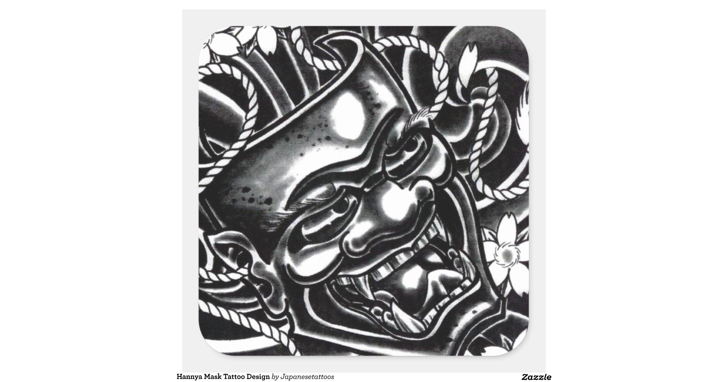 hannya mask tattoo design square sticker zazzle. Black Bedroom Furniture Sets. Home Design Ideas