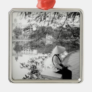 Hanoi Vietnam, Hoan Kiem Lake View (NR) Silver-Colored Square Ornament